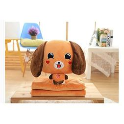3 In 1 Blanket Pillow - Plush Brown Dog Toys Pillow Blanket