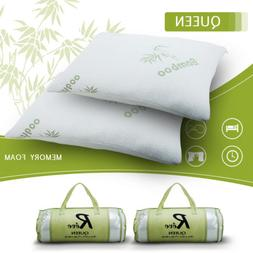 2× Hotel Bamboo Bed Pillow Memory Foam Hypoallergenic Cool