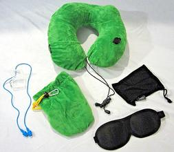 3 in 1 Inflatable Travel Pillow Eye Mask & Ear Plugs w/ Clip
