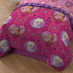Disney Frozen Twin Comforter Pink Purple Elsa Anna