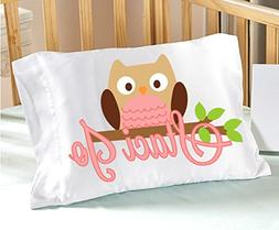Personalized Owl Pillowcase  for Kids Pink Pillow Case for G
