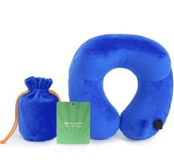 Automatic Inflatable Travel Neck Pillow, Blue- Skin Friendly