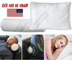 Bamboo Travel Pillow Neck Roll Lumbar Support Cervical Bolst