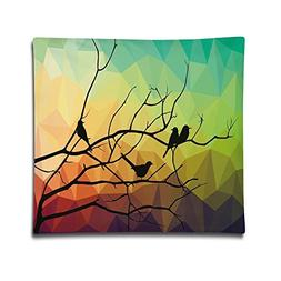 Isjiqnsq Unisex Birds On Branch With Geometrical Abstract Ra