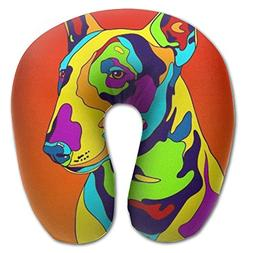 Vvgkiollm Multi-Color Bull Terrier Dog Travel Pillow Rest Ai