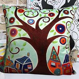 MeMoreCool Cartoon Lucky Tree Pillow Cover Velvety - Vibrant