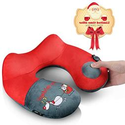 Kmall Christmas Gift Travel Pillow |Soft Velvet Inflatable T