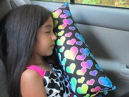 Colorful Hearts travel pillow for children and adults