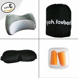 Cooling Gel Memory Foam Neck & Travel Pillow Kit. 3D Memory