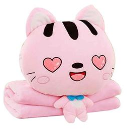 Cute Little Cat 3 In 1 Blanket Cushion Pillow, Perfect for W