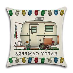 YANGYULU Cute RV Vintage Camper Travel Trailer Cotton Linen