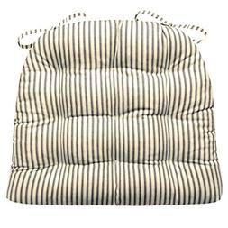 Barnett Products Ticking Stripe Black Dining Chair Pad with