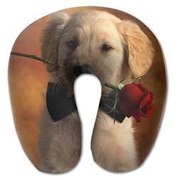 Dog With Rose U-shaped Travel Pillow Full All Over Print Sup
