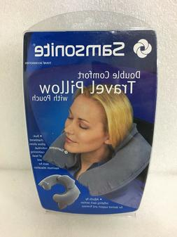 Samsonite Double Comfort Travel Pillow with Pouch, Grey