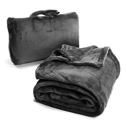 Cabeau Travel Fold N' Go Blanket, Charcoal, 1 ea