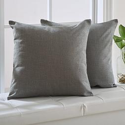 Deconovo Grey Cushion Covers Woven Fine Faux Linen Throw Cus