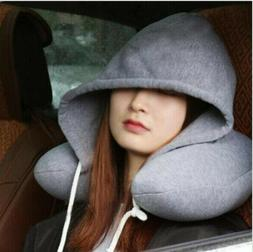 Hoodie Travel Pillow Soft Hooded U Cushions Travelling Pillo