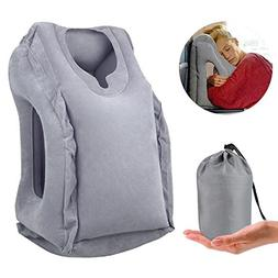 new Inflatable Air Travel Pillow Airplane Neck Head Chin Cus