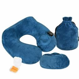 Inflatable Air Travel Cervical Head Neck Pillow + Eye Mask &