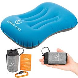 Zura Energy Ultralight Inflatable Travel Camping Pillow + Lo
