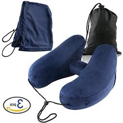 BEEHOME 3-Piece Inflatable Neck Pillow with Head Hood and Ca