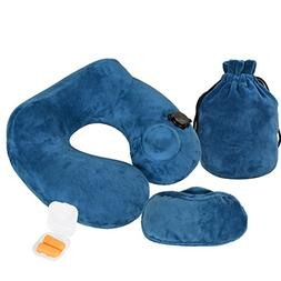 Emasun Inflatable Travel Pillow, Inflating Neck Pillow Soft