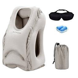 Gesentur Inflatable Travel Pillow +Eye Mask +Ear Plug,Ergono
