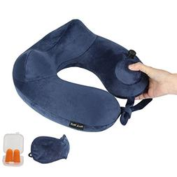 NeckWell Inflatable Travel Pillow, Travel Pillow Pump with S