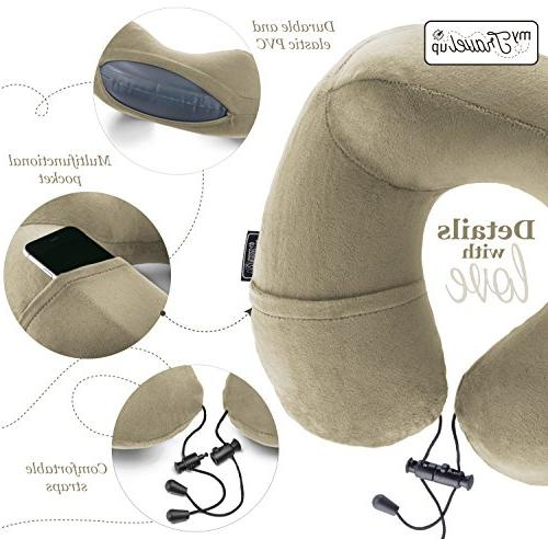 3in1 TRAVEL NECK PILLOW 3D SLEEP pair EARPLUGS and CARRY BAG the relax your you