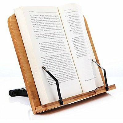 Book Holder Stand Readaeer Wooden BamBoo Reading Book Rest P