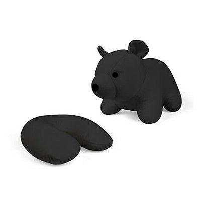 Kikkerland Zip and Flip Bear Travel Pillow Black Compact Reu