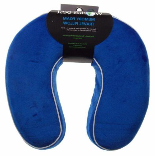Neck Support Plush Travel Pillow Memory Foam Blue Relaxation