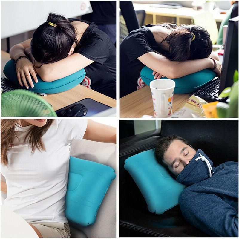 Air Pillow Inflatable Cushion Portable Head Rest Compact Travel w/ Pouch