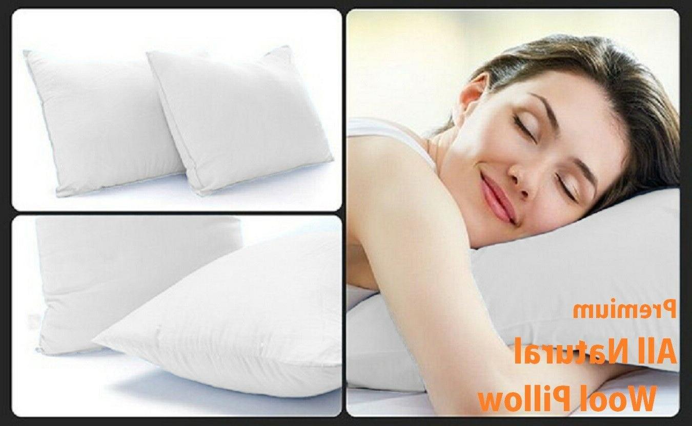 ALL NATURAL Wool Pillow w/ Zippered Organic Cotton Cover - 2