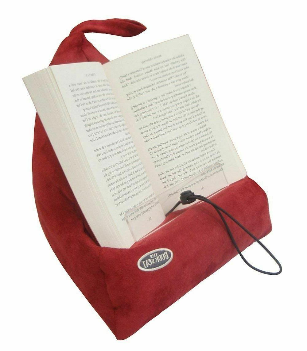 book holder and travel pillow red