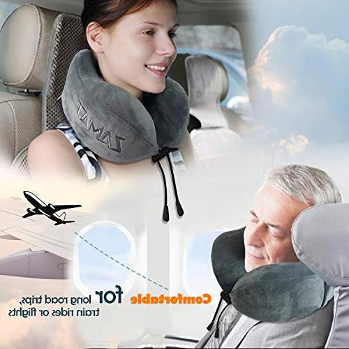 ZAMAT Comfortable Memory Travel Neck Pillow, Car Head Support, Cover with Mask,
