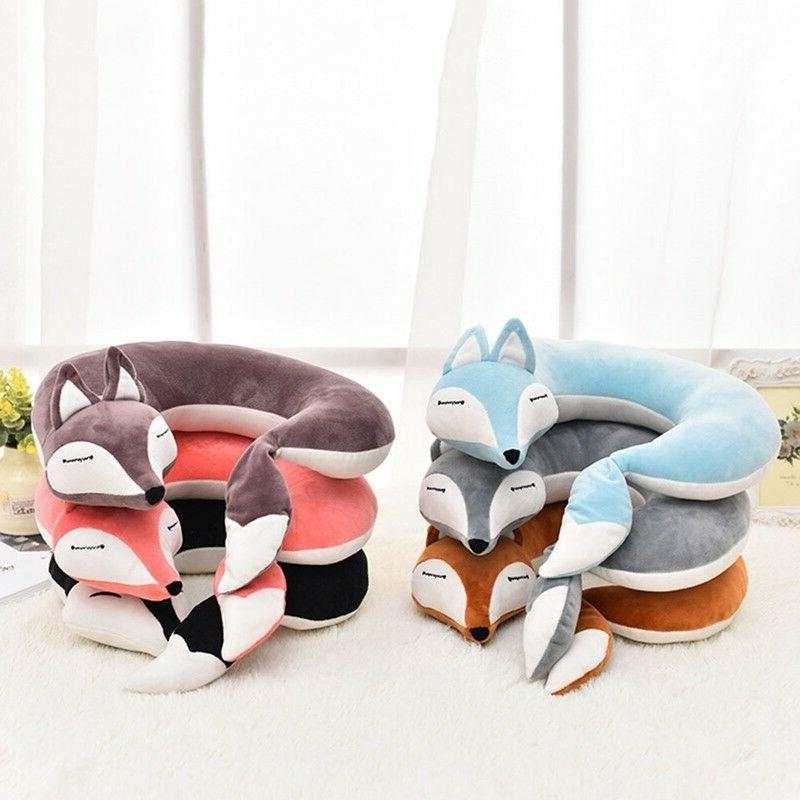 Cute Fox Shape Cotton Plush U Shape Neck Pillow Travel Car H