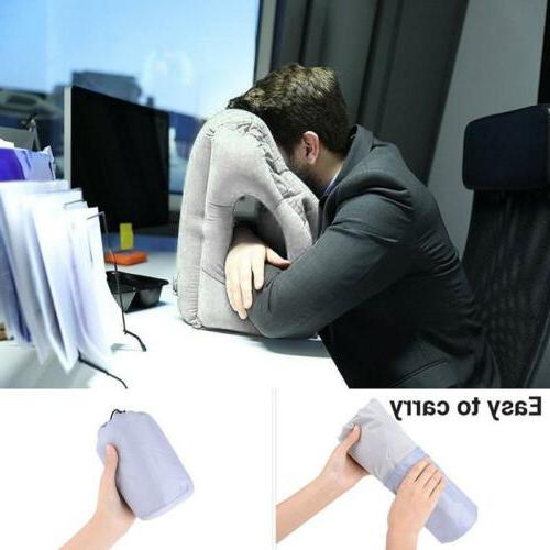 Inflatable Air Travel Pillow Airplane Office Desk Nap Pillow