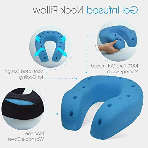 Everlasting Foam Neck Pillow, Gel Airplane with Sleep Mask and