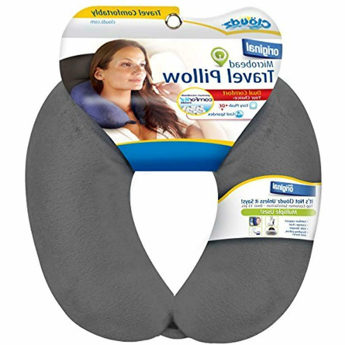 microbead travel neck pillow grey