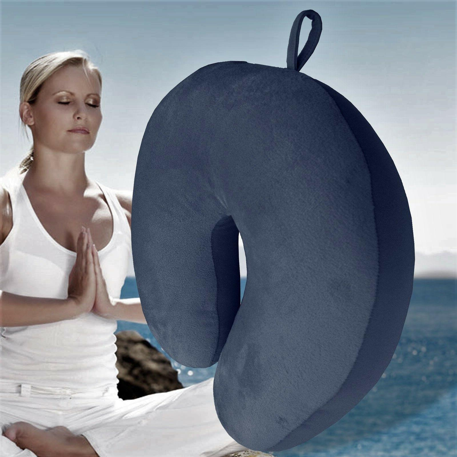 navy blue u shaped travel pillow neck