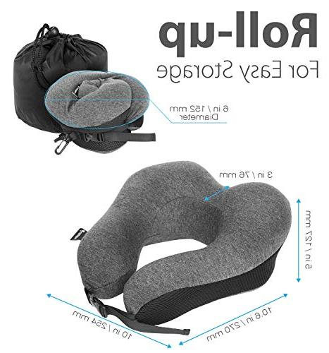 Fosmon Travel Soft and Foam Neck Cushion, & Chin Support Pillow, Machine Washable Cotton Traveling Flying Airplane Flight Bus Train