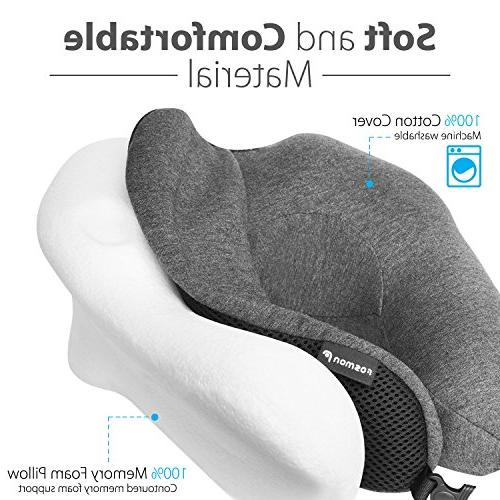 Fosmon Travel Soft Foam Cushion, & Chin Travel Pillow, Washable Cotton Flying Airplane Flight Bus Train
