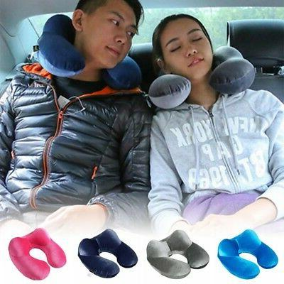 US Inflatable Flight Pillow Neck Rest Head Support Air Cushi