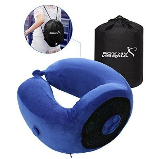 Travel Neck Pillow - Memory Foam and Cooling Gel Pillows wit