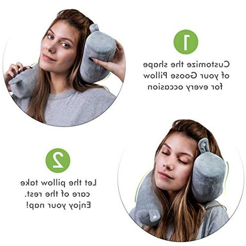 Goose Travel Pillow Support for Neck, Lumbar and Adjustable, Bendable Cylindrical for Bus, or - Washable Soft