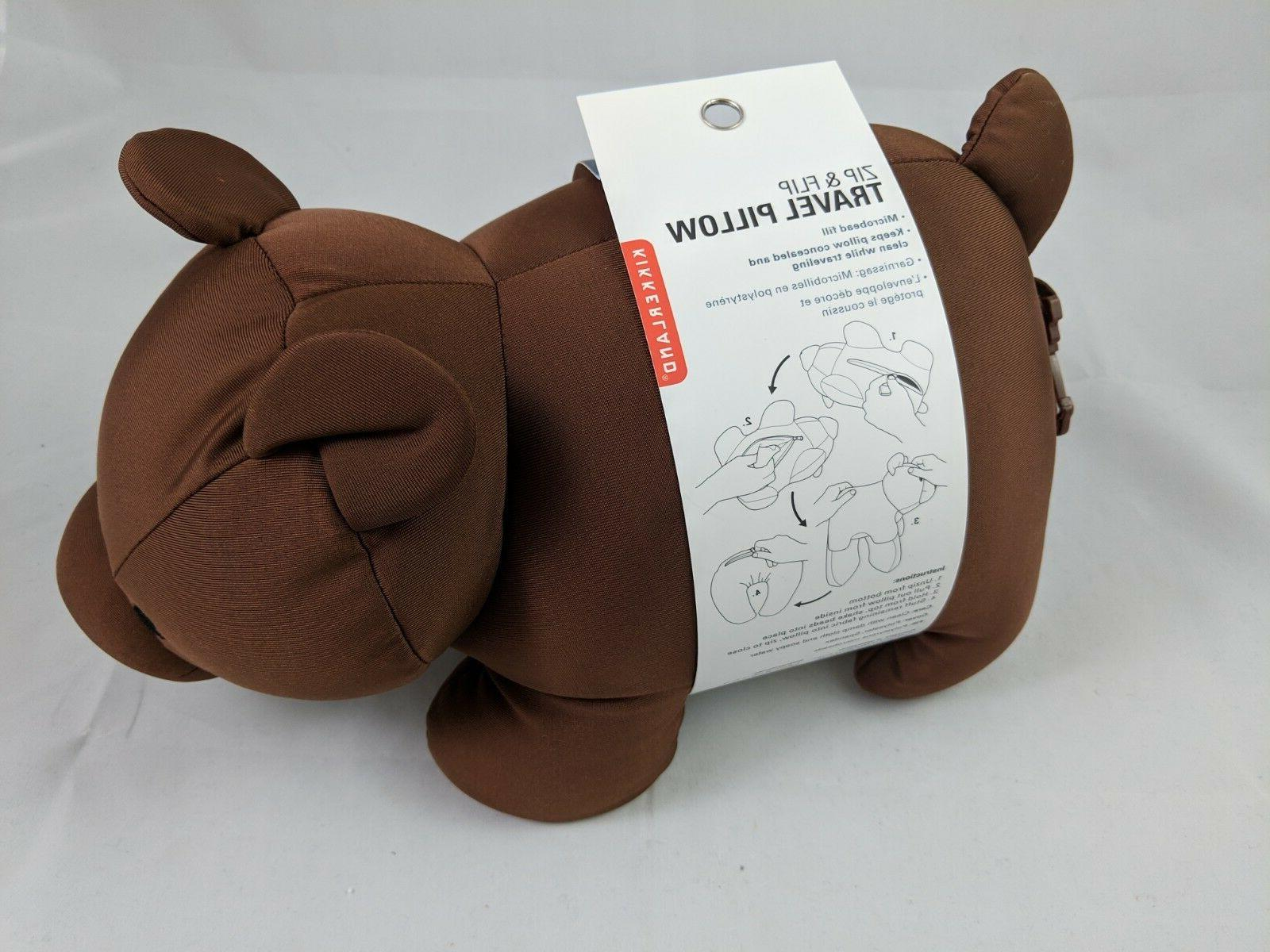 Kikkerland Zip Cute Travel U Neck Pillow Portable