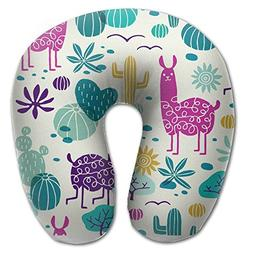 Benntoyo Llama And Cactus U-shaped Travel Pillow Full All Ov