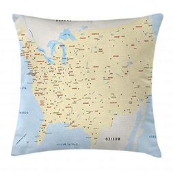 Ambesonne Map Throw Pillow Cushion Cover, United States Inte