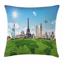 Ambesonne Map Throw Pillow Cushion Cover, Famous Historical